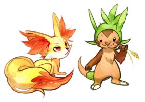 Fennekin and Chespin