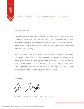 Acceptance Letter for Torchfyre by Sleemonc