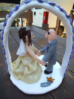 FIMO wedding cake topper - back view by craftymummy