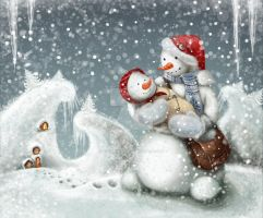 SnowDad and SnowDaughter by bustavshica