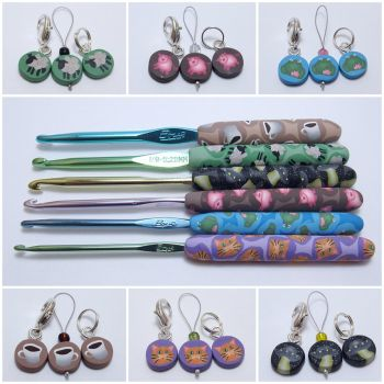 Polymer Clay Crochet Hooks and Stitch Markers by noellewis