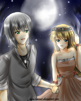 SkyexClaire: Under the moonlight by hamu2