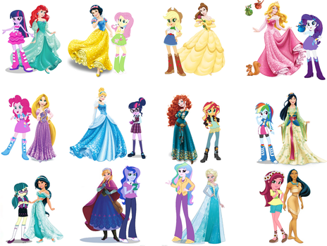 Equestria Girls and Disney Princess by DANIOTHEMAN