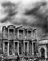 Celsus Library black and white by orcunceyhan