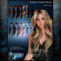 Sybille Painted Instant Hair PSD add on hair stock by MakeMeMagical
