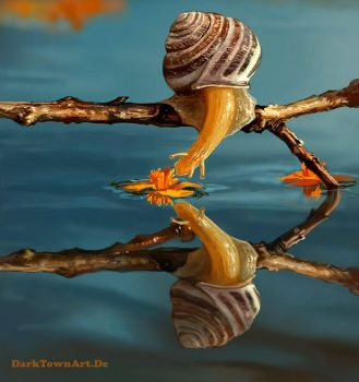 A Snail Kissing Water (Painting Study) by ZombieSandwich