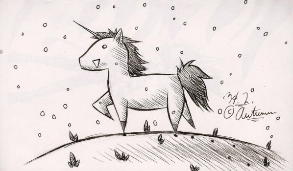 Unicorn in the Snow by HNAutumn