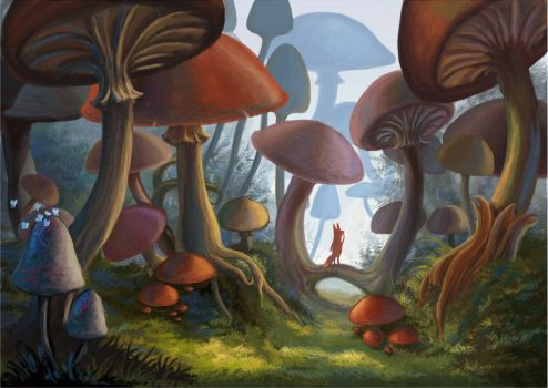 Kito in the Mushroom Forest by furiouskitten