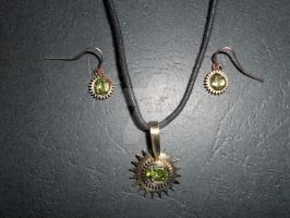 Chrysolite set - earrings and pendant by mpv666