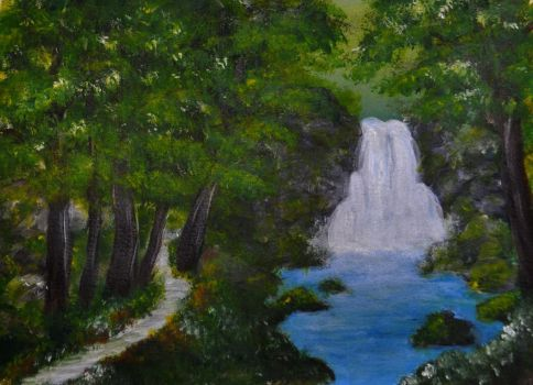 Acrylics Practice Waterfall by Forestina-Fotos