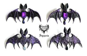 Black Purple OrnaBat - Bat Clay Pendant - Collage by Styxeria