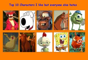 Top 10 Characters I Like But Everybody Else Hates by Michaelsar