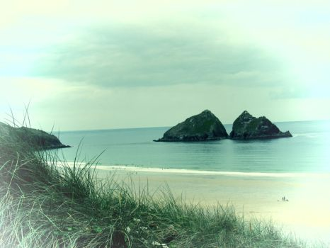 Holywell Bay: postcard style by EleanorMayDodson