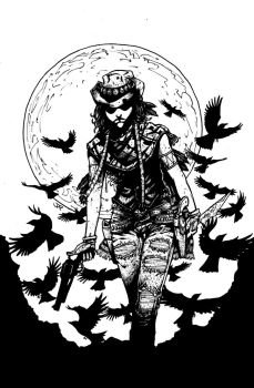 Crow Jane: In the Season of Revenge 2 cover inks by RevolverComics