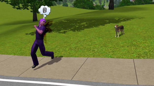 The Sims 3: My dog is chasing Vinny-sim.. by SnowxChan