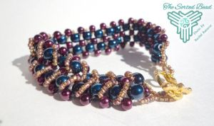 Beaded Bracelet, Double Right Angle Weave Teal by TheSortedBead