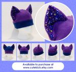Purple Blue Stars and Moon Cat Hat by cutekick