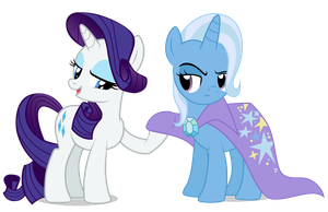 Rarity and Trixie by Vectorshy