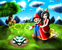 Mario And The Princess (request) by windgm