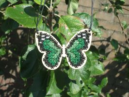 Wooden butterfly necklace by Magical525