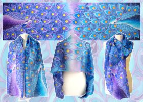 Silk scarf Peacock - for sale by MinkuLul