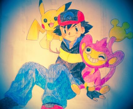 Ash Pikachu and Aipom by Redfold94