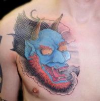 Oni cover-up tattoo by JaredPreslar
