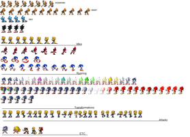 Sonic sprites 2015 - Second Update by Des-the-Dragon