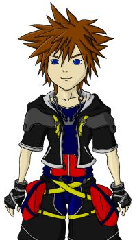 Kingdom Hearts Sora coloured by shadow-wolf04