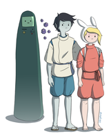 Sen, Haku, No Face, and the Susuwatari by Deighvid