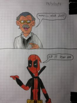 Stan lee and Deadpool - Zip it Stan lee by matiriani28