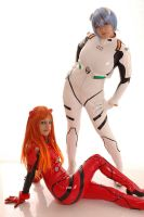 Rei and Asuka by Ivycosplay