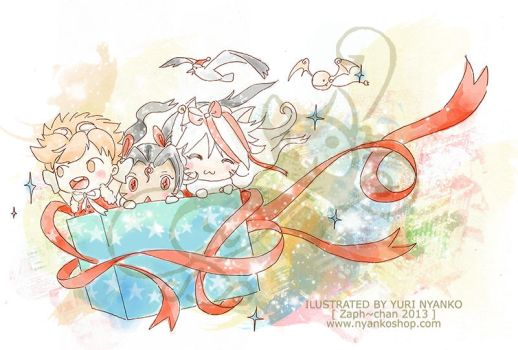 AniVenture and AniQuest Merry Christmas Card 2013 by Zaph-chan