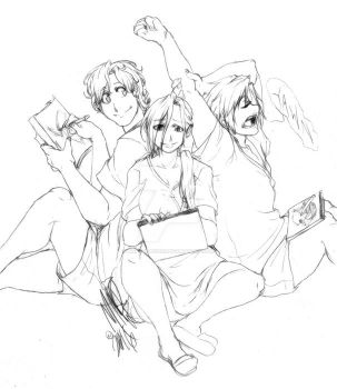 Sketching with friends. by SweetheartedSadist
