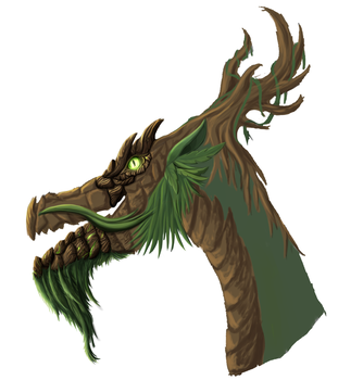 Forest Dragon head render WIP 02 by DragonLoreStudios
