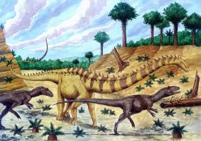 Barosaurus and Allosaurs by T-PEKC