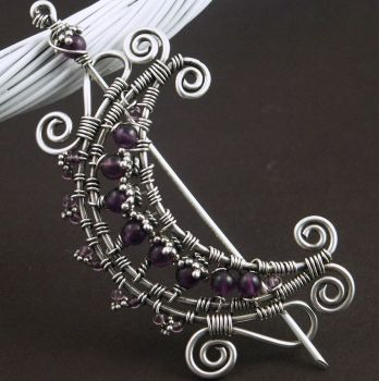 Amethyst Wire Moon Brooch by WiredElements