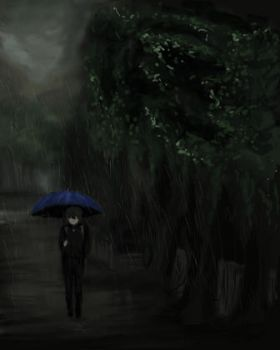 Oreki in the rain by bahbuzzfly