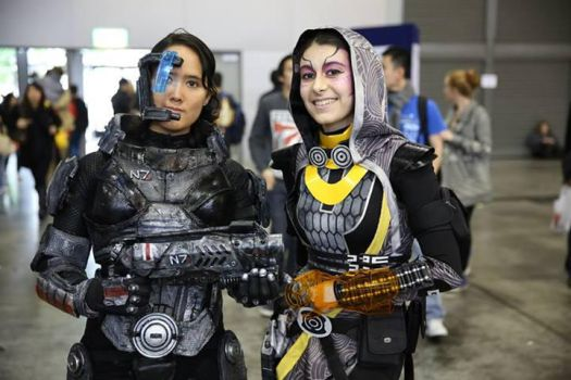 Tali'Zorah and Commander Shepard - 01 by Millster-Ink