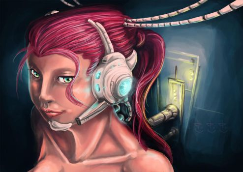 cyborg girl by HolyBovine