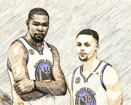 Kevin Durant and Steph Curry by StraightOuttaSerbia