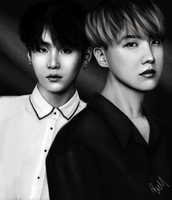 Jhope and Suga Portrait Study by DragonOfTheBrooke