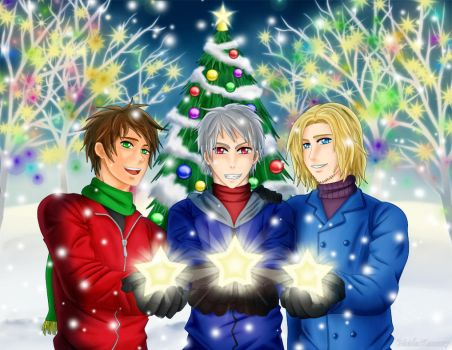 APH - Bad Trio wish you a Merry Christmas by MaidenKonan27