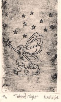 Fairy of Night - Lineart Etching by LitTechGirl