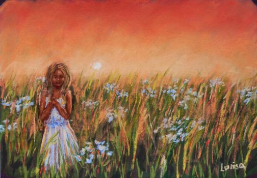 Sunset flower field | Pastel painting by Larisa12345