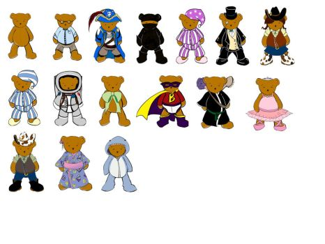 WIP Bear Outfits by cuddleturtle