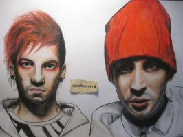 Twenty One Pilots drawing by MelieseReidMusic