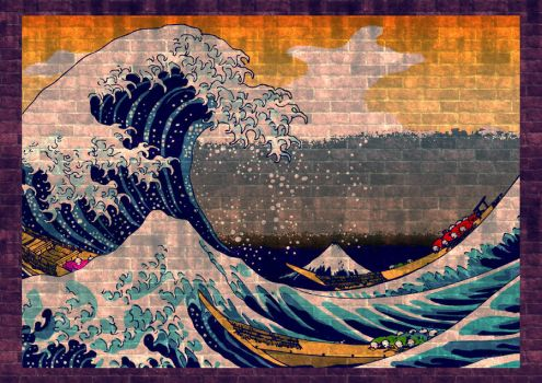 The Great wave on the wall by dankensei