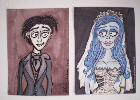 Corpse Bride Victor and Emily ATCs 3.22.16 by Dreamerzina