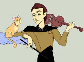 Data playing violin for Spot by BewitchedCat